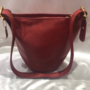 Coach Helen's Legacy Red Leather bucket bag